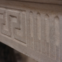 Fine French Country 18th Century antique fireplace mantel in Limestone.