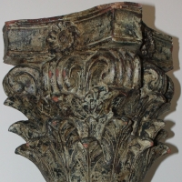 Antique Restoration Hardware in wood with patina.