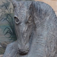 Horse Head In Wood From a Farm, Great Decorative Element