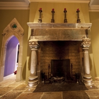 Gotik installation of vintage fireplace surround in Ireland with original fireback