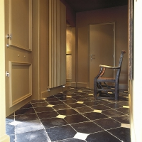 Black Belgian antique floor in Noir de Mazy Marble