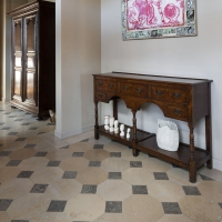 Octogonal flooring in French variation of marble stone.