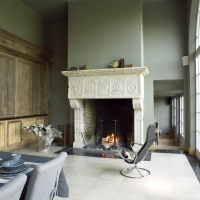 Fine Big European Country Limestone Fireplace In A Timeless Kitchen.