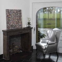 Antique Andirons and Timeless Exceptional Vintage French Fireplace Surround